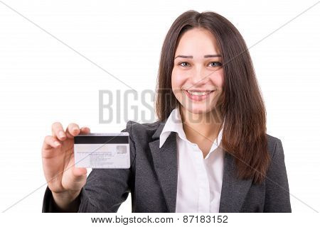 Young Business Woman With Plastic Card