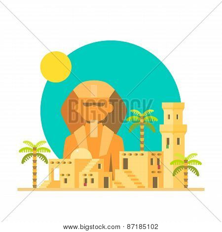Flat Design Of Sphinx Giza With Village