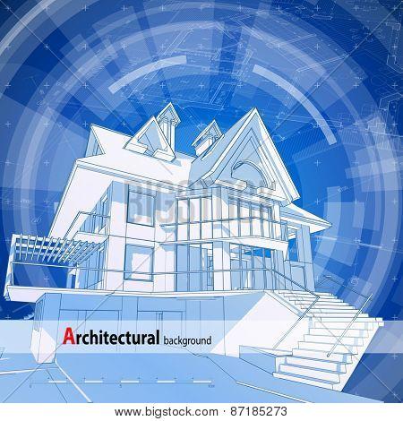 Architecture design blueprint 3d house plan blue technology architecture design blueprint 3d house plan blue technology radial background vector illustrat malvernweather Images