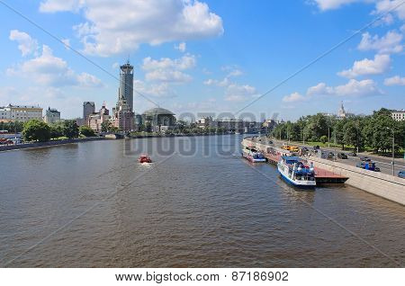 Moscow River And Business And Cultural Complex Riverside Towers, Moscow, Russia