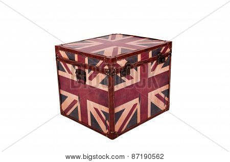 Box With English Flag Isolated Of White