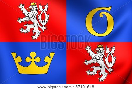 Flag Of Hradec Kralove Region, Czech Republic.