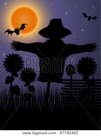 Scarecrow Black Silhouette In The Night Sky And The Moon