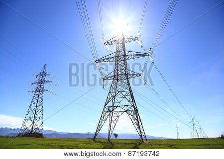 Electric Power Transmission Lines under the sun