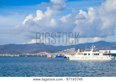 Coastal Cityscape With Moored Ships. Izmir,turkey
