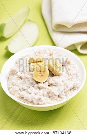 Oatmeal Porridge With Bananas Slices