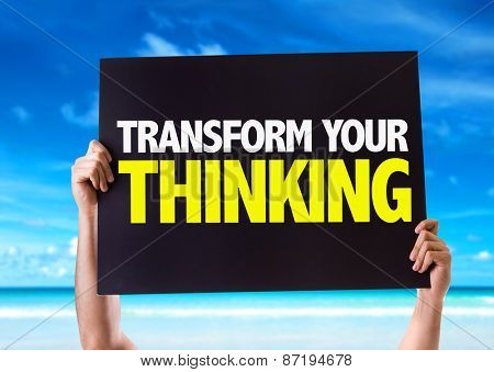 Transform Your Thinking card with beach background