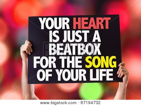 Your Heart Is Just A Beatbox For The Song of Your Life card with bokeh background