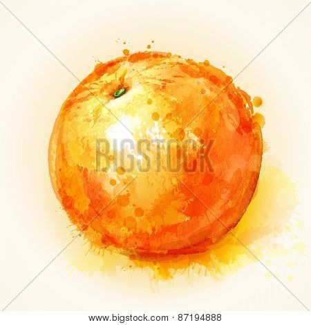 effect ripe orange painted watercolor blots