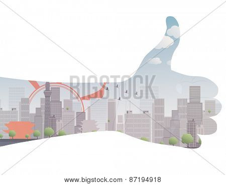 Vector thumb up icon double exposure Vector illustration eps 10