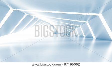 Abstract Empty Illuminated Light Blue Shining Corridor, 3D