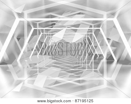 Abstract Surreal Tunnel Background With 3D Polygon Pattern