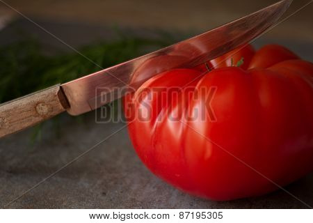 tomato cut with a knife