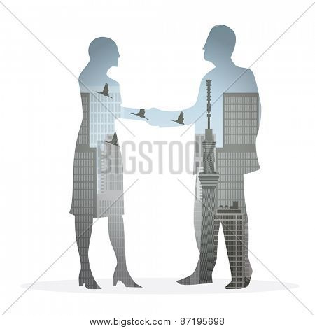 double exposure handshake businessman on city background Vector illustration eps10