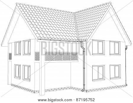 Sketch outline house on the white background. EPS 10