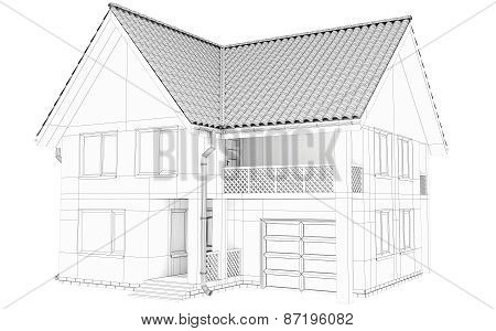 Sketch lines of a large frame house. Created with 3d technology
