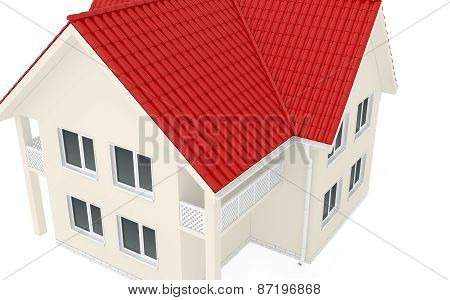 Large two-story house with red roof
