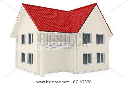 Two-storey country house with red roof
