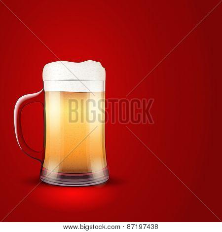 Illustration light beer and mug on red background