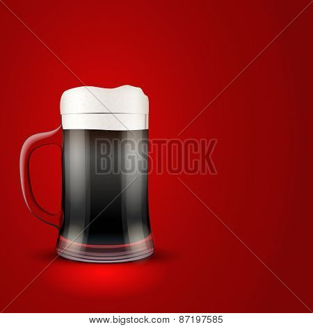 Illustration dark beer and mug on red background