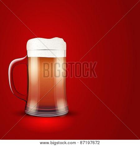 Illustration beer and mug on red background