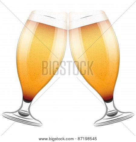 Two beer glasses clink. Illustration