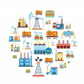 picture of production  - Factory flat industry background with manufactory  production technology buildings vector - JPG