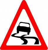 image of slippery-roads  - Vector illustration of a Slippery Road Warning symbol - JPG