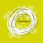picture of congratulation  - Green congratulation vintage invitation card with floral elements vector background with drawing flowers - JPG