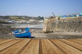pic of tide  - Harbour at low tide with fishing boats at Coverack England with wooden planks floor - JPG