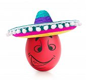 pic of emotions faces  - Red evil egg with emotional face in sombrero isolated - JPG