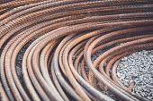 pic of reinforcing  - Macro steel rods or bars used to reinforce concrete