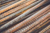pic of reinforcing  - Macro steel rods or bars used to reinforce concrete - JPG
