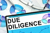 stock photo of diligent  - Due Diligence on tablet with graphs - JPG