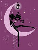 stock photo of moon silhouette  - Silhouette of a girl who is sitting on the moon and holding a star - JPG