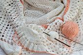 stock photo of hook  - Crochet skirt of white yarn - JPG