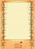 picture of bamboo leaves  - Vector frame with bamboo leaves and symbols of Japan - JPG