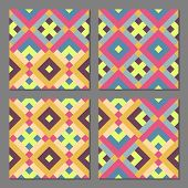 image of color geometric shape  - Set of 4 abstract geometric patterns - JPG