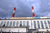 stock photo of chp  - Industrial pipes heat electric station in Moscow - JPG