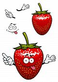 stock photo of tease  - Teasing bright red strawberry fruit cartoon character with yellow seeds and playful smile for childish decor or food design - JPG