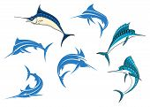 image of long-fish  - Jumping blue marlins or swordfishes with long thin noses and big dorsal fins isolated on white background for sporting fishing logo or emblems design - JPG