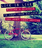 a quote: life is like riding a bike to keep your balance you must keep moving, over a bike photo ton poster