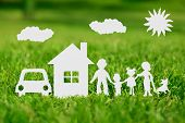 image of architecture  - Paper cut of family with house and car on green grass - JPG