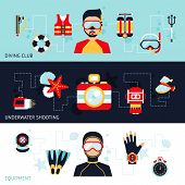 stock photo of shoot out  - Diving horizontal banner set with club equipment underwater shooting elements isolated vector illustration - JPG