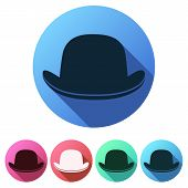 picture of bowler  - Set Flat icons of black gentleman bowler hat - JPG