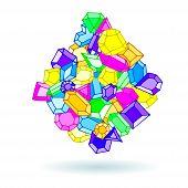 foto of gem  - Cartoon hand drawn doodle gems vector ball background - JPG