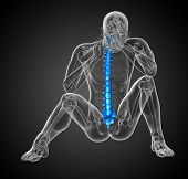 picture of lumbar spine  - 3d render medical illustration of the human spine  - JPG