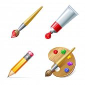 stock photo of paint palette  - Education icons - JPG