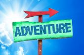 pic of wild adventure  - Adventure sign with sky background - JPG
