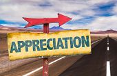 stock photo of appreciation  - Appreciation sign with road background - JPG